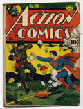 Golden Age (1938-1955):Superhero, Action Comics #43 (DC) Condition: GD. Superman battles the Nazis. Zatara, Congo Bill, and the Vigilante appear. Fred Ray cov...