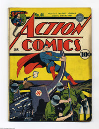 Action Comics #44 (DC, 1942) Condition: GD+. The Man of Steel demonstrates how he obtained his name. Mr. America, Vigila...
