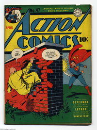 Action Comics #47 (DC, 1942) Condition: GD/VG First cover appearance of Lex Luthor. The Vigilante, Mr. America, and Cong...