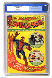 The Amazing Spider-Man #8 (Marvel, 1964) CGC VG- 3.5 Off-white pages. Spider-Man/Fantastic Four backup story by Steve Di...