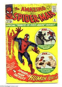 The Amazing Spider-Man #8 (Marvel, 1964). Steve Ditko cover and art. Fantastic Four appear in backup story with Jack Kir...