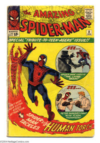 The Amazing Spider-Man #8 (Marvel, 1964). Steve Ditko cover. Ditko and Jack Kirby art. The Fantastic Four appear in a ba...