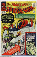 Silver Age (1956-1969):Superhero, The Amazing Spider-Man #14 (Marvel, 1964) Condition: VG. First appearance of the Green Goblin. Hulk crossover. Steve Ditko c...