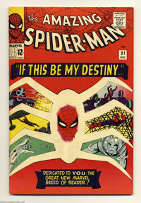The Amazing Spider-Man #31 (Marvel, 1965) Condition: FN+. The first appearances of Harry Osborn, Gwen Stacy, and Profess...