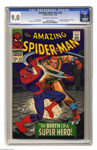 "The Amazing Spider-Man #42 (Marvel, 1966) CGC VF/NM 9.0 Off-white to white pages. ""The Birth of a Super-Hero!""..."