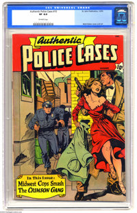 Authentic Police Cases #10 (St. John, 1950) CGC VF 8.0 Off-white pages. Matt Baker cover and art. Overstreet 2004 VF 8.0...