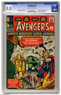 The Avengers #1 (Marvel, 1963) CGC VG/FN 5.0 Cream to off-white pages. This is the issue that started it all for Earth's...