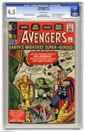 Silver Age (1956-1969):Superhero, The Avengers #1 (Marvel, 1963) CGC VG+ 4.5 Off-white pages. First appearance of the Avengers team. Loki, Teen Brigade and Fa...