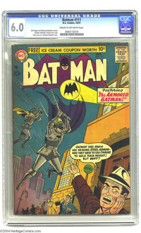 Batman #111 (DC, 1957) CGC FN 6.0 Cream to off-white pages. Forget the Bat-rope -- the Dynamic Duo's swinging on chains...