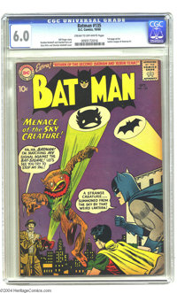 "Batman #135 (DC, 1960) CGC FN 6.0 Cream to off-white pages. ""Menace of the Sky Creature!"" and ""Return of..."