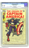 "Silver Age (1956-1969):Superhero, Captain America #109 (Marvel, 1969) CGC VF- 7.5 Off-white to white pages. Poster-worthy ""The Origin of Captain America"" news..."