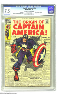"Captain America #109 (Marvel, 1969) CGC VF- 7.5 Off-white to white pages. Poster-worthy ""The Origin of Captain Amer..."