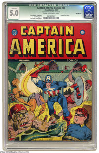 Captain America Comics #30 (Timely, 1943) CGC Qualified VG/FN 5.0 Cream to off-white pages. Human Torch backup feature...