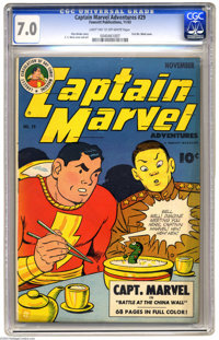 Captain Marvel Adventures #29 (Fawcett, 1943) CGC FN/VF 7.0 Light tan to off-white pages. Featuring the first cover appe...
