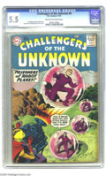 """Silver Age (1956-1969):Superhero, Challengers of the Unknown #8 (DC, 1959) CGC FN- 5.5 Cream to off-white pages. Trapped in giant bubbles, the Challs become """"..."""