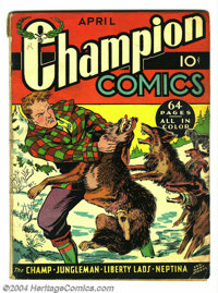 Champion Comics #6 (Harvey, 1940) Condition: VG. The Champ, Jungleman, Libertylads, and Neptina appear. Centerfold detac...