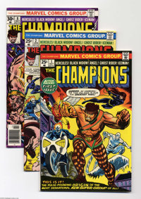 The Champions Group (Marvel, 1975-76) Condition: Average VF-. This group includes #1 (VF), #2 (FN), and # 8 (VF+). Appro...