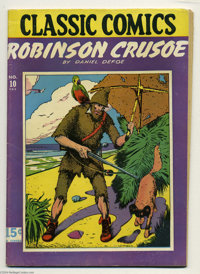 Classic Comics #10 Robinson Crusoe HRN 20 (Gilberton, 1944) Condition: FN+. Daniel Defoe's work in comic book format. Ov...