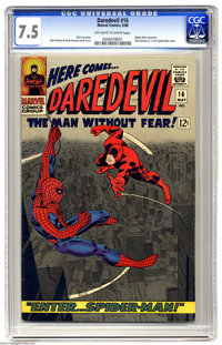 Daredevil #16 (Marvel, 1966) CGC VF- 7.5 Off-whit to white pages. Spider-Man crossover. John Romita Sr.'s first Spider-M...