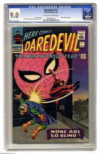 Daredevil #17 (Marvel, 1966) CGC VF/NM 9.0 Off-white to white pages. Spider-Man appearance. Memorable John Romita Sr. &q...