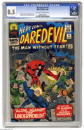 """Silver Age (1956-1969):Superhero, Daredevil #19 (Marvel, 1966) CGC VF+ 8.5 Off-white to white pages. """"Alone ... Against the Underworld!"""" Gladiator and Masked ..."""