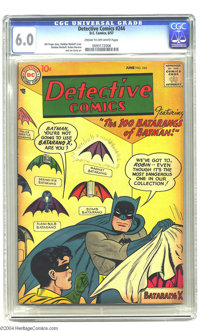 "Detective Comics #244 (DC, 1957) CGC FN 6.0 Cream to off-white pages. Shelly Moldoff's cover involves ""The 100 Bata..."