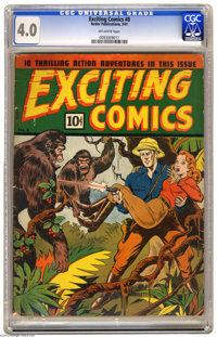 Exciting Comics #8 (Nedor Publications, 1941) CGC VG 4.0 Off-white pages. Gorilla cover. Overstreet 2004 VG 4.0 value =...