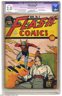 Flash Comics #8 (DC, 1940) CGC Apparent GD 2.0 Slight (A). Sheldon Moldoff cover. Moldoff, E. E. Hibbard, and Harry Lamp...