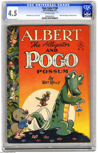 Four Color #148 Albert the Alligator and Pogo Possum (Dell, 1947) CGC VG+ 4.5 Off-white pages. Walt Kelly story, cover...