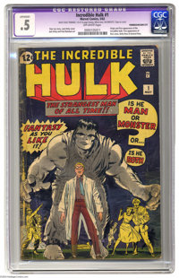 The Incredible Hulk #1 (Marvel, 1962) CGC Apparent PR 0.5 Off-white pages. It all started here with ol' Grayskin! By Sta...