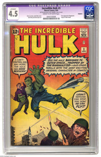 The Incredible Hulk #3 (Marvel, 1962) CGC Apparent VG+ 4.5 Cream to off-white pages. The Hulk's third appearance, by Sta...