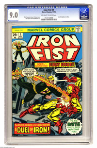 Iron Fist #1 (Marvel, 1975) CGC VF/NM 9.0 Off-white to white pages. Iron Fist battles Iron Man. Chris Claremont story. G...
