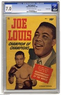 Joe Louis #1 Canadian Edition (Anglo-American, 1950) CGC FN/VF 7.0 Off-white to white pages. Photo cover. This comic fea...