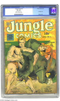 Golden Age (1938-1955):Adventure, Jungle Comics #4 (Fiction House, 1940) CGC VG 4.0 Cream to off-white pages. Bondage cover. Charles Sultan cover. George Tusk...