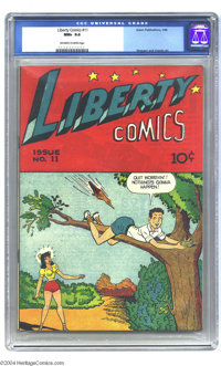 Liberty Comics #11 (Green Publishing Co., 1946) CGC NM+ 9.6 Off-white to white pages. Here's the well-known but not ofte...