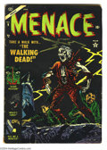 Golden Age (1938-1955):Horror, Menace #9 (Atlas, 1954) Condition: VG. Gene Colan cover. Bill Everett art. Overstreet 2004 VG 4.0 value = $70....