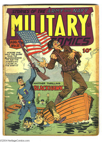 Military Comics #11 (Quality, 1942) Condition: PR. Flag cover by Will Eisner. Chuck Cuidera, Bob Powell, Klaus Nordling...