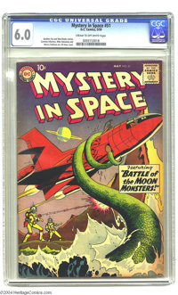 Mystery in Space #51 (DC, 1959) CGC FN 6.0 Cream to off-white pages. An otherworldly tentacle ensnares a spaceship in Gi...