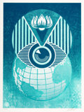 Prints & Multiples, Shepard Fairey (b. 1970). Flint Eye Alert Globe, 2017. Screenprint in colors on paper. 24 x 18 inches (61 x 45.7 cm) (sh...