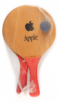 Apple Inc. Paddle Ball Set, late 20th century Wood, resin, and rubber ball 13-1/2 x 8 inches (34.3 x 20.3 cm) (each)...
