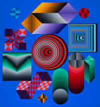 Victor Vasarely (1906-1997) CHOKK, 1976 Acrylic on canvas 81 x 75 inches (205.7 x 190.5 cm) Si