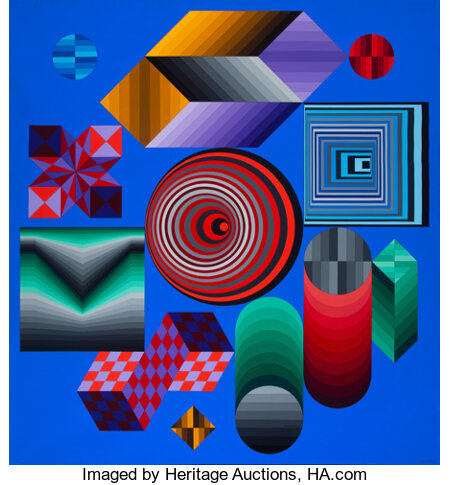 Victor Vasarely (1906-1997) CHOKK, 1976 Acrylic on canvas 81 x 75 inches (205.7 x 190.5 cm) Signed lower right: Va...