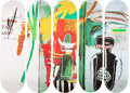 Collectible, After Jean-Michel Basquiat X The Skateroom. Untitled (set of 5), 2017. Screenprints in colors on skate decks. 31 x 8 inc... (Total: 5 Items)