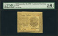 Continental Currency September 26, 1778 $20 PMG Choice About Unc 58 EPQ