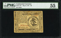 Continental Currency May 9, 1776 $3 PMG About Uncirculated 55