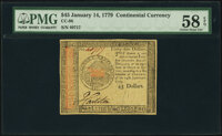 Continental Currency January 14, 1779 $45 PMG Choice About Unc 58 EPQ