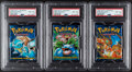 Memorabilia:Trading Cards, Pokémon Unlimited Base Set Sealed Booster Packs Group of 3 (Wizards of the Coast, 1999) PSA NM-MT 8. ...