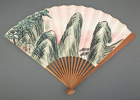 Qi Baishi (Chinese, 1864-1957) Landscape Fan leaf, ink and color on paper 7-1/4 x 19-1/2 inches (