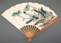 Qi Baishi (Chinese, 1864-1957) Orchids Fan leaf, ink and color 8 x 20-1/2 inches (20.3 x 52.1 cm