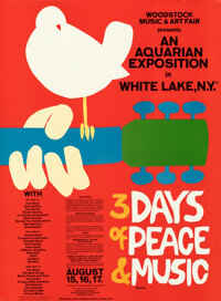 "Woodstock: An Aquarian Exhibition (1969). Rolled, Very Fine/Near Mint. Music Festival Posters (2) (18"" X 24.5""..."